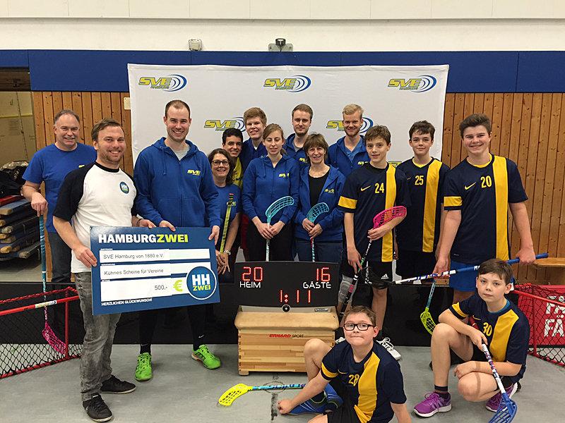 SVE-Floorball gewinnt 500 Euro für Anzeigetafel