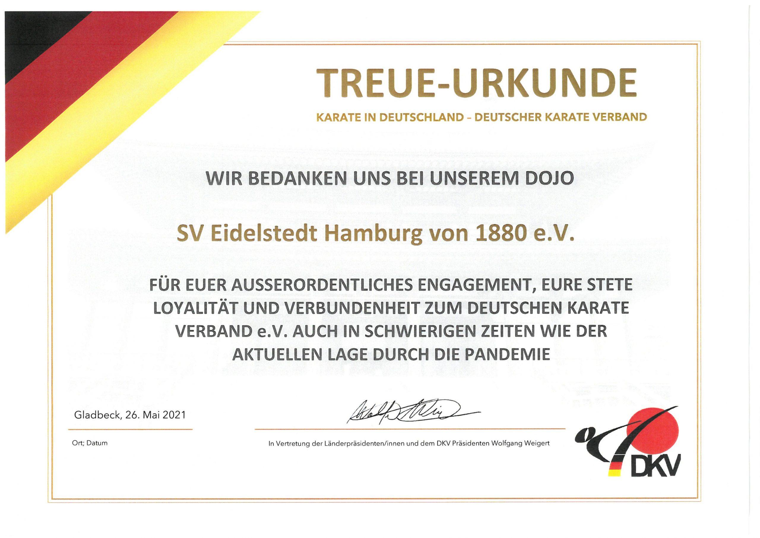Karate-Abteilung erhält Treue-Urkunde